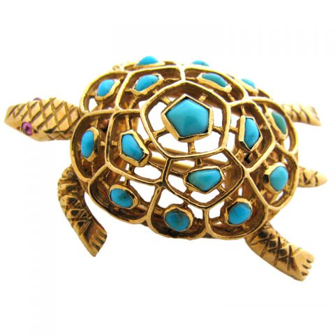 BOUCHERON-PARIS-A-Gold-and-Turquoise-Scatter-Pin-c-1950-1
