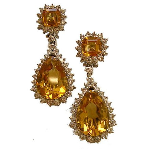 Citrine and Diamond Earrings, circa 1960-1