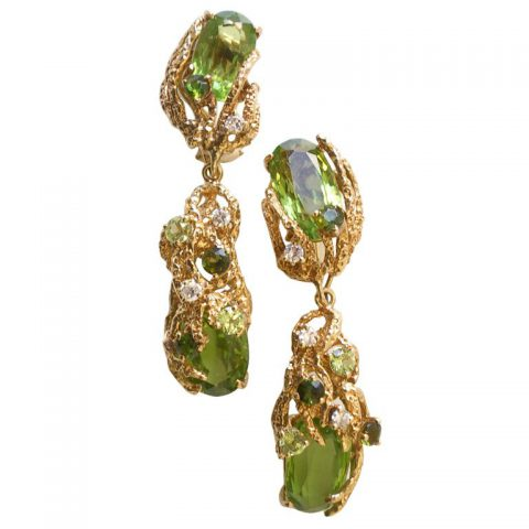 Gold Peridot, Tourmaline and Diamond Ear Clips c.1960-1