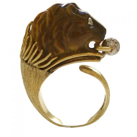Gold-Tigers-Eye-and-Diamond-Ring-c1960-1
