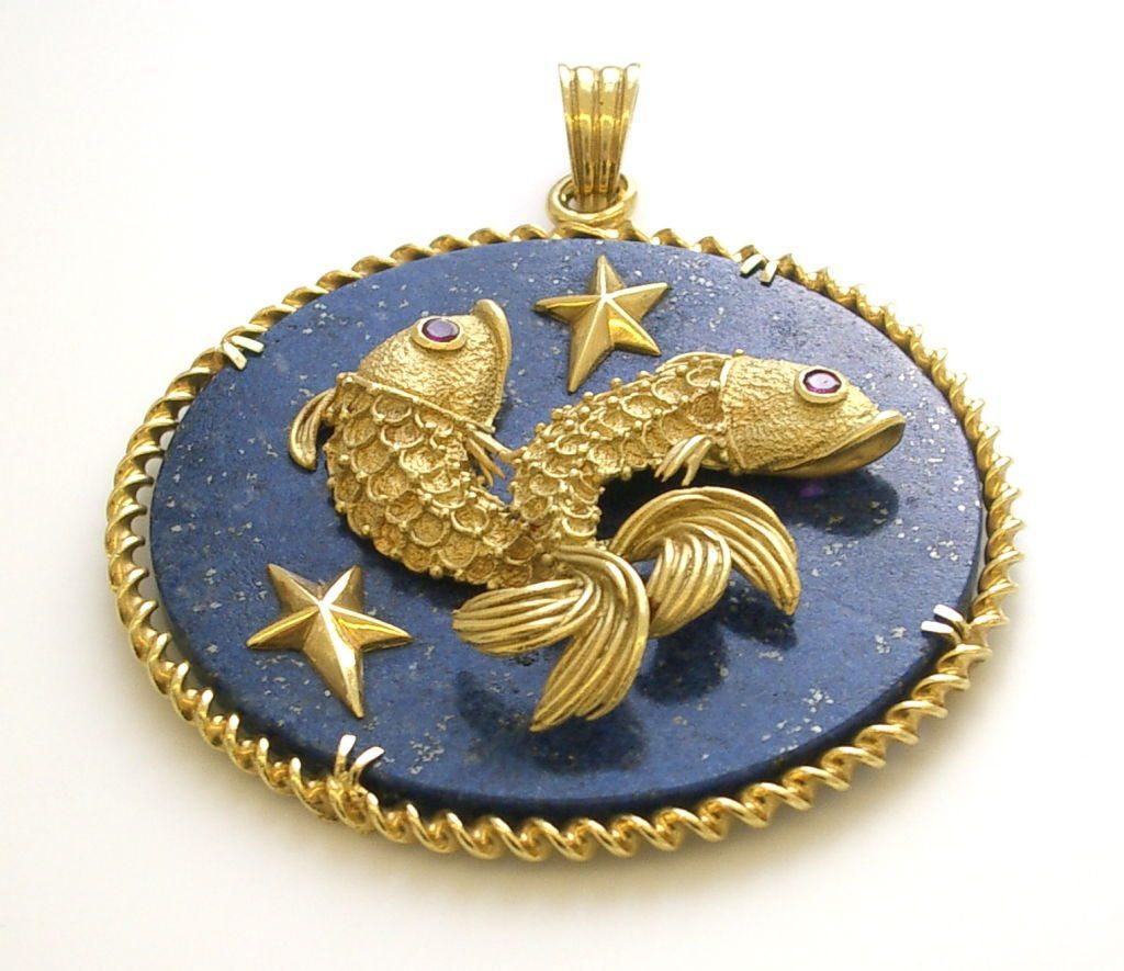 Gold and lapis lazuli pisces pendant kimberly klosterman jewelry gold and lapis lazuli pisces pendant mozeypictures Choice Image