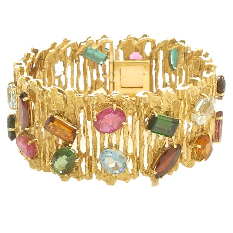 gold rubover gemstone image bracelet yellow multi oval