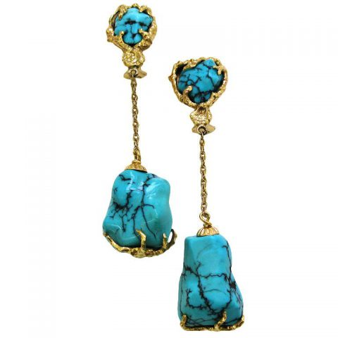 Gold and Turquoise Drop Earrings, circa 1960. signed-1
