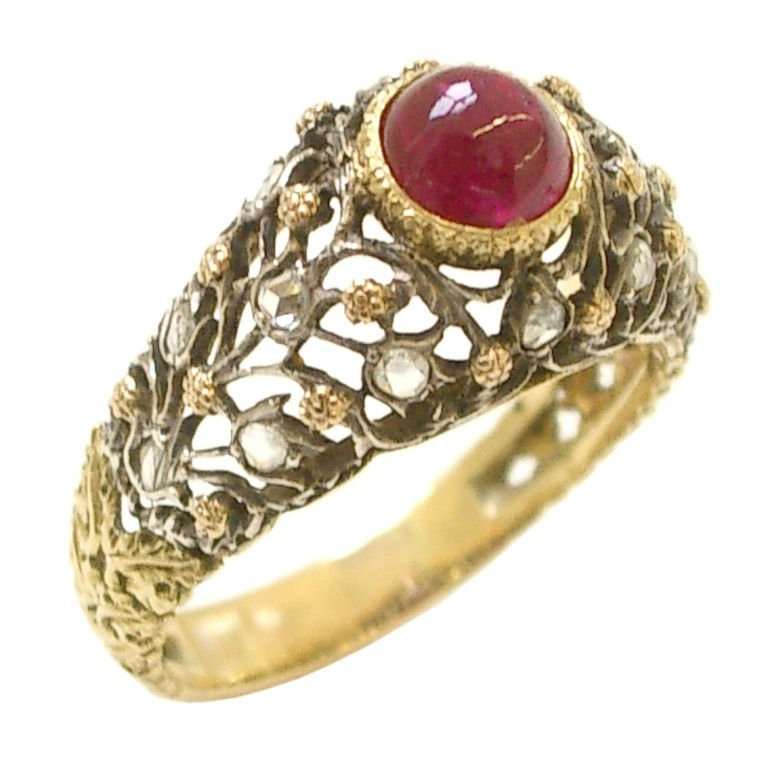 Buccellti Gold And Diamond Ruby Ring Circa 1960 Kimberly