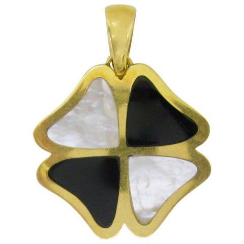 Italian_Four_Leaf_Clover_Gold_Inlay_Pendant