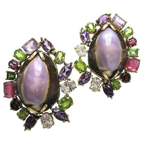 Massive_Multicolored_Gemstone_and_Shell_Ear_Clips