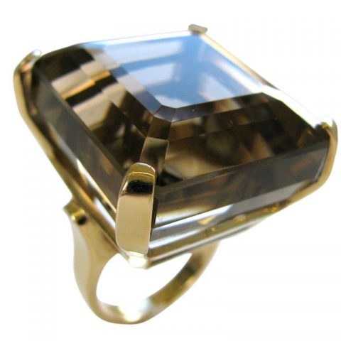 Massive_Smoky_Quartz_Retro_Ring_c1945