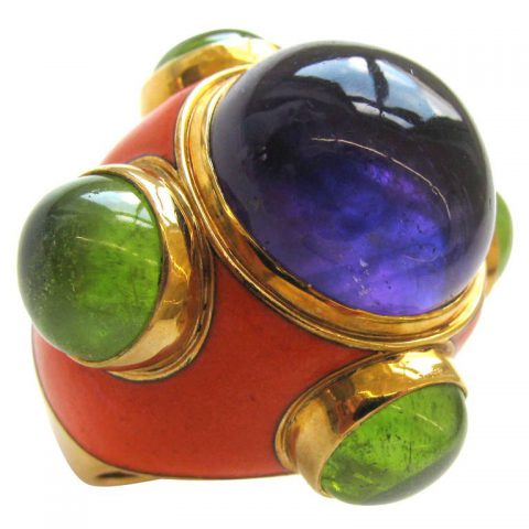 SOLANGE AZAGURY-PARTRIDGE, An Amethyst, Peridot and Enamel Ring-1