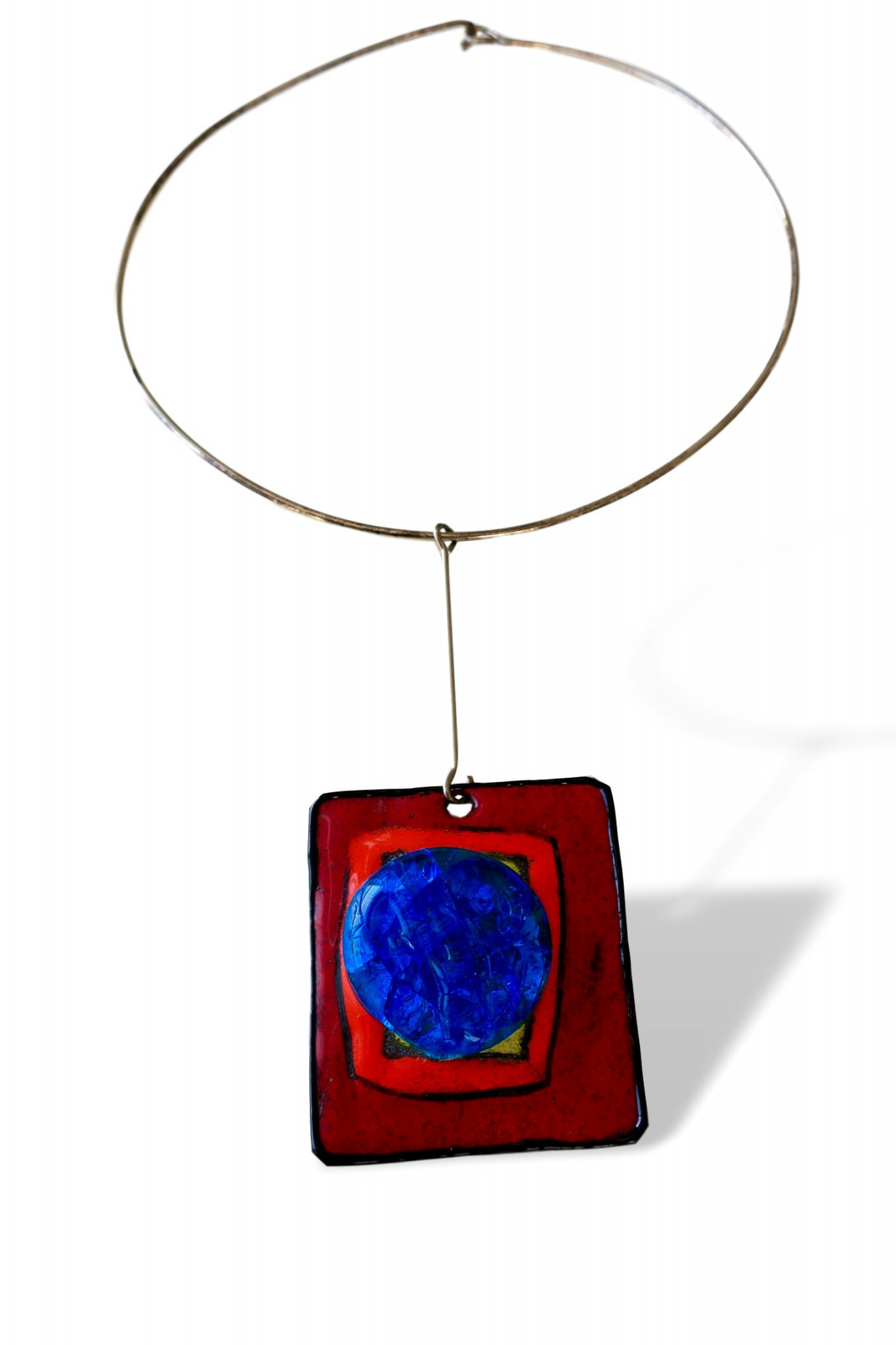 Pierre Cardin Silver Enamel And Glass Pendant Necklace