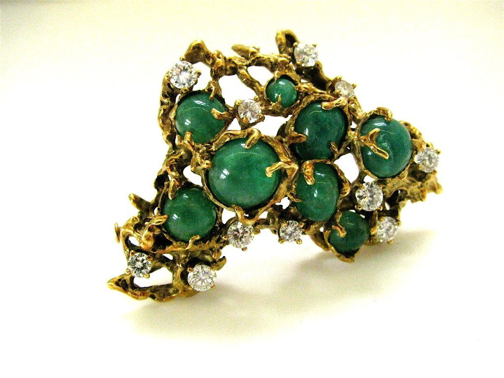 Arthur King Brutalist Emerald Diamond Gold Pendant Brooch