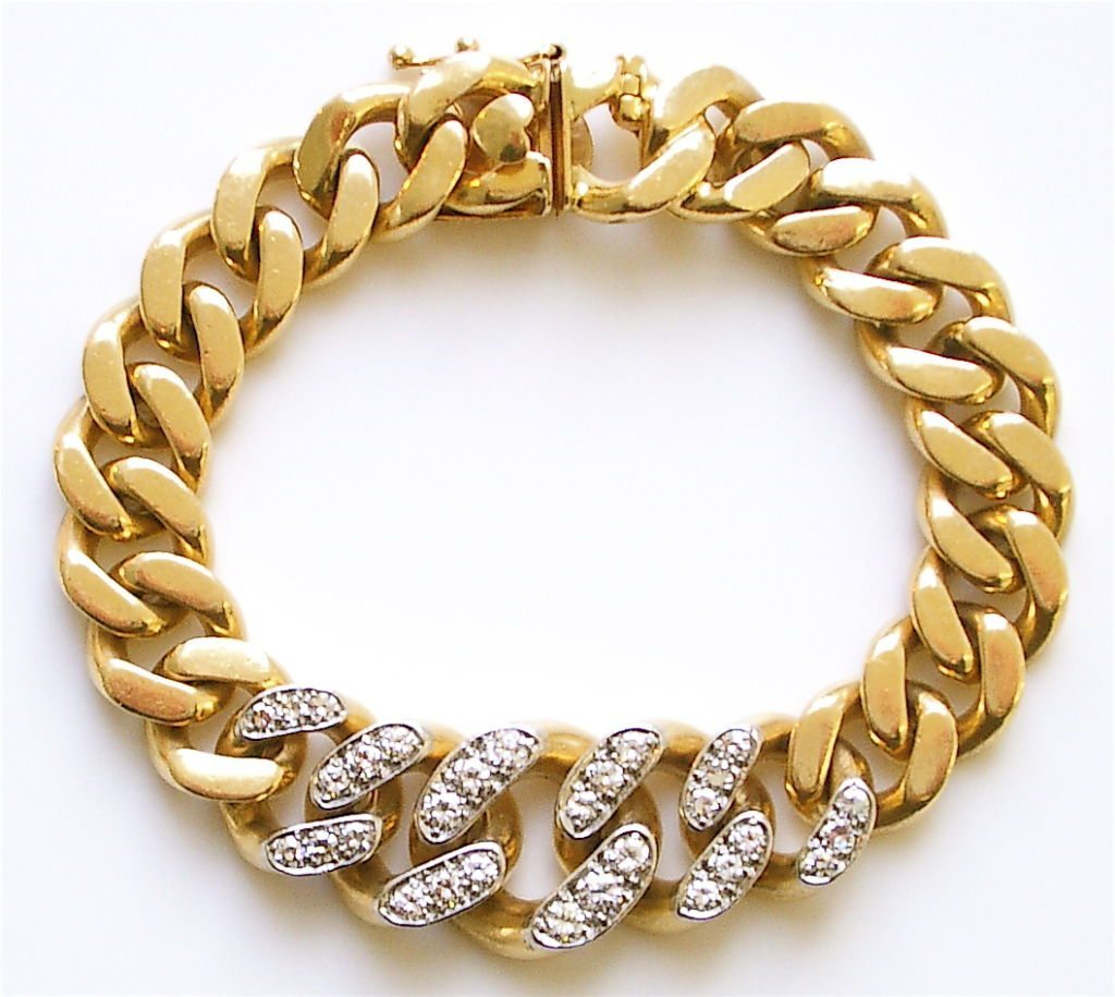 Gold and Diamond Link Reversible Bracelet by Cartier c1960 ...
