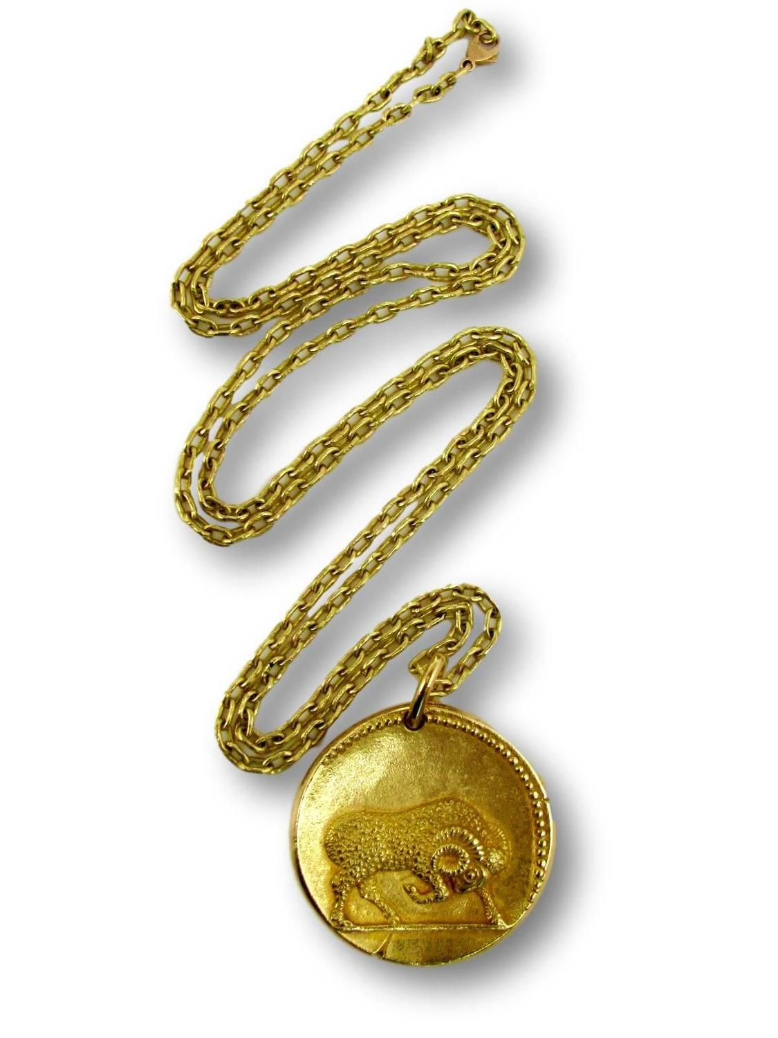 Van Cleef Amp Arpels Gold Zodiac Aries Necklace French Circa