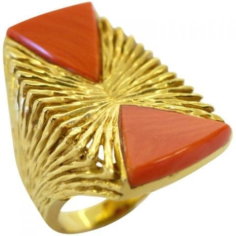 5c6c96994 Kutchinsky Coral and Gold Cocktail Ring, London, 1972