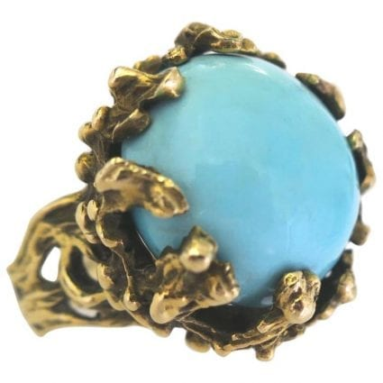 cc27e47b9 1960s Turquoise and Gold Statement Ring